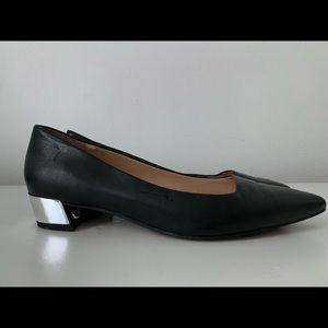 Franco Sarto Black Leather w/ metallic block heel